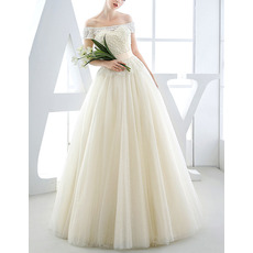 2018 Classic Off-the-shoulder Full Length Wedding Dress with Short Sleeves