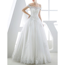 Custom Classic Ball Gown Off-the-shoulder Full Length Organza Wedding Dress