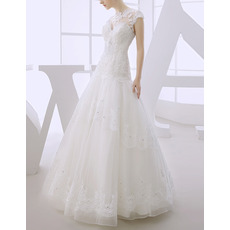 Cheap Modern A-Line Floor Length Organza Dropped Waist Wedding Dress