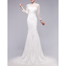 Custom Modest Mermaid Mandarin Collar Lace Wedding Dress with Long Sleeves