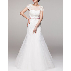 Cheap Classic A-Line Cap Sleeves Floor Length Wedding Dress with Belts