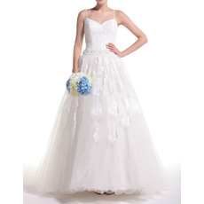 Affordable Luxury Ball Gown Spaghetti Straps Full Length Plus Size Wedding Dress