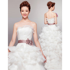 Modern Luxury Strapless Ruffle Skirt Wedding Dress with Belts