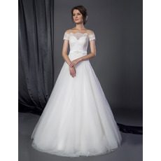 2018 Classic A-Line Off-the-shoulder Tulle Wedding Dress with Short Sleeves