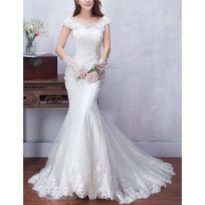 Timeless Elegant Sheath Cap Sleeves Sweep Train Satin Tulle Wedding Dress