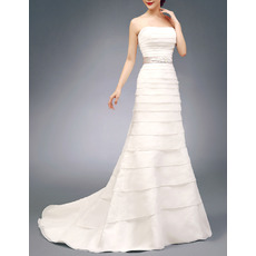 Inexpensive Chic Strapless Satin Organza Layered Wedding Dress with Belts