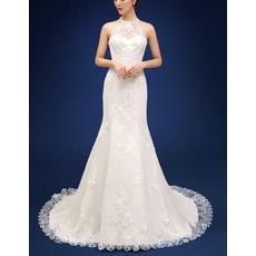 2018 Fashionable Sheath Halter Court Train Organza Wedding Dress
