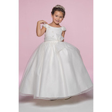 Princess Ball Gown Round Embroidery Ankle Length Full lined First Communion Dress with Cap Sleeves