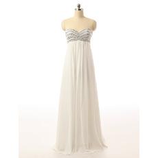 Simple Empire Waist Sweetheart Long White Chiffon Evening Dress