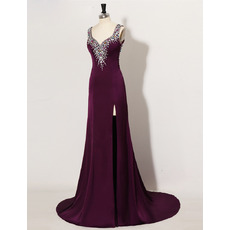 Sexy Sheath Sweetheart Satin Rhinestone Side-Vent Long Evening Dress