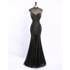 Custom Beautiful Sheath Sweetheart Long Tulle Black Beading Formal Evening Dress