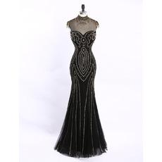 Custom Beautiful Sheath Sweetheart Long Tulle Black Beading Formal Evening Dress