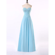 Affordable Sweetheart Floor Length Chiffon Rhinestone Evening Dress