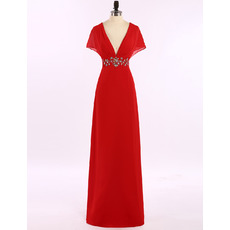Sexy V-Neck Long Red Chiffon Prom Evening Dress with Cap Sleeves