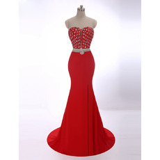 Inexpensive Sexy Sheath Sweetheart Sweep Train Two-Piece Evening Dress