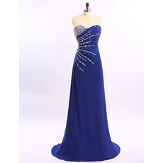 Elegant Sweetheart Sweep Train Long Blue Chiffon Rhinestone Formal Evening Dress