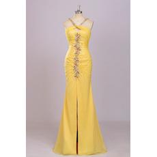 Sexy Sheath Halter Long Chiffon Backless Prom Evening Dress