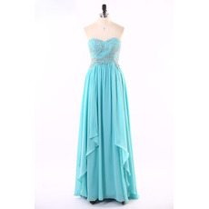 Custom Sweetheart Sleeveless Floor Length Chiffon Evening Dress