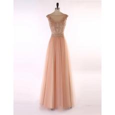 Inexpensive Elegant A-Line Sleeveless Floor Length Organza Evening Dress