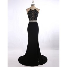 Affordable Sexy Sheath Halter Sweep Train Applique Black Prom Evening Dress