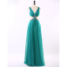 Inexpensive Sexy V-Neck Floor Length Chiffon Prom Evening Dress