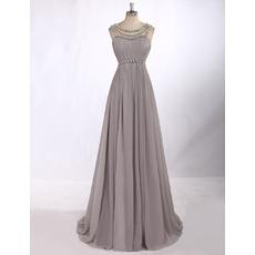 Custom Classy Sleeveless Floor Length Chiffon Chain Formal Evening Dress