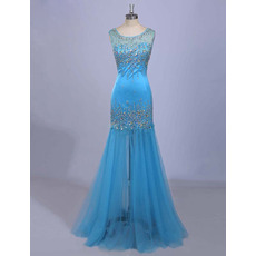 Affordable Trumpet Sleeveless Floor Length Organza Formal Evening Dress