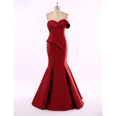 Sexy Mermaid Sweetheart Floor Length Satin Prom Evening Dress
