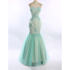 Classy Mermaid Sweetheart Floor Length Satin Organza Prom Evening Dress