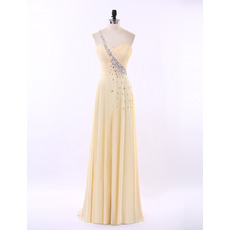Elegant One Shoulder Sweetheart Floor Length Chiffon Prom Evening Dress for Women