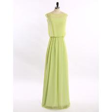 Inexpensive Elegant Column Sleeveless Floor Length Chiffon Solid Prom Evening Dress