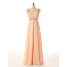 Classy Sweetheart Floor Length Chiffon Prom Evening Dress with Straps