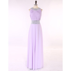 Custom Elegant Sleeveless Floor Length Chiffon Pleated Prom Evening Dress