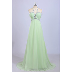 Inexpensive Halter Sleeveless Sweep Train Chiffon Evening Dress