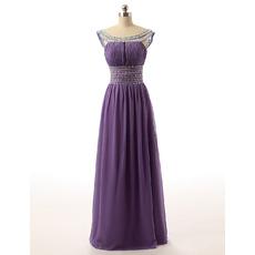 Empire Waist Round Neck Long Chiffon Rhinestone Prom Evening Dress