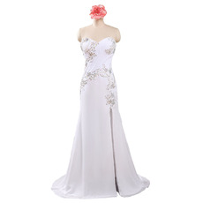 Custom Inexpensive Sweetheart Floor Length White Chiffon Beading Evening Dress