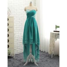 Inexpensive Beautiful Sweetheart High-Low Chiffon Formal Evening Dress