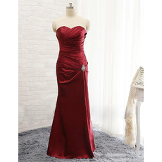 Classic Sheath Sweetheart Floor Length Satin Pleated Evening Dress