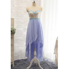 Beautiful Custom Sweetheart High-Low Chiffon Tasseled Skirt Prom Evening Dress