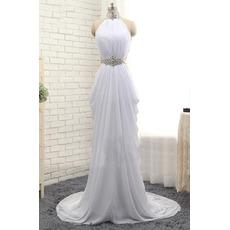 Beautiful Mandarin Collar Long Chiffon Pick-Up Skirt Prom Evening Dress