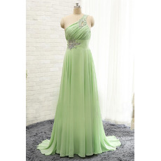 Classic One Shoulder Sleeveless Sweep Train Long Chiffon Evening Dress
