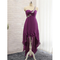 Inexpensive One Shoulder High-Low Purple Chiffon Prom/ Evening Dress
