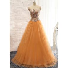 Custom Designer Ball Gwon Sweetheart Floor Length Satin Prom Evening Dress