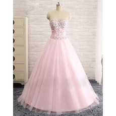 Classic A-Line Sweetheart Floor Length Pink Satin Tulle Evening Dress