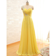 Women's Inexpensive One Shoulder Sweetheart Long Chiffon Evening Dress