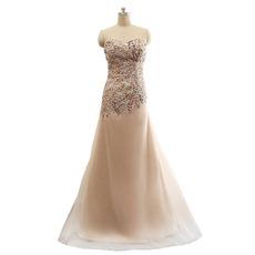 Women's Elegant Sweetheart Floor Length Organza Rhinestone Formal Evening Dress