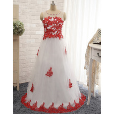 Classic Ball Gown Floor Length Tulle Applique Formal Evening Dress