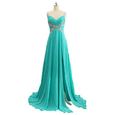 Elegant Sweetheart Long Chiffon Prom Evening Dress with Spaghetti Straps
