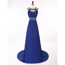 Elegant Round Neck Sleeveless Sweep Train Blue Chiffon Prom Evening Dress