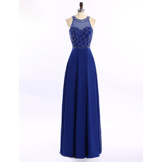 Cheap Classy Round Sleeveless Blue Long Chiffon Prom Evening Dress